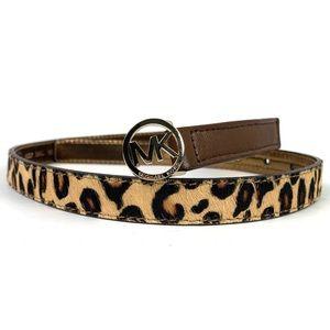 Michael Kors Calf Hair Leopard Print Belt